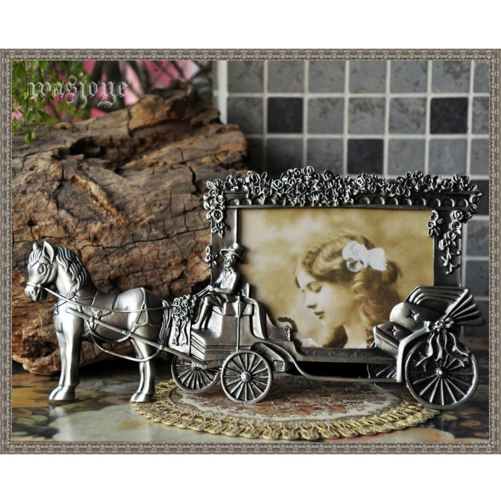 古典金属摆台欧式相框大马拉婚车 经典异形巴洛克创意相架5寸图片