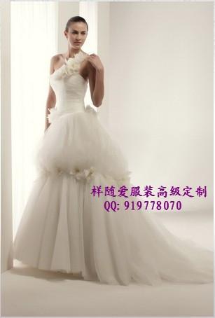 Каскад тропа плечо пряжи качества евро свадебные платья пользовательских цветы украшения индивидуальные Свадебные платья от кутюр