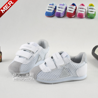 Free shipping summer single network hollow white leather fashion shoes for children, boys and girls sports sandals baby sandals