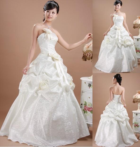 2013最新款婚纱公主礼服 韩版甜美婚纱 韩式冬季齐地抹胸结婚婚纱