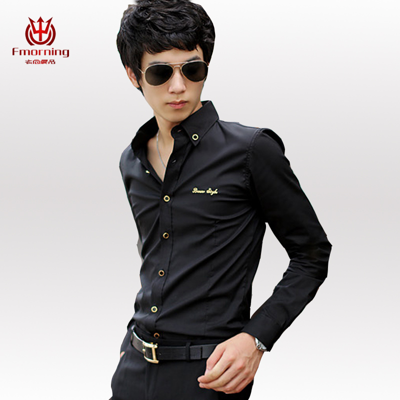 Spring New Men Fashion Casual Long Sleeved Shirt Slim Korean