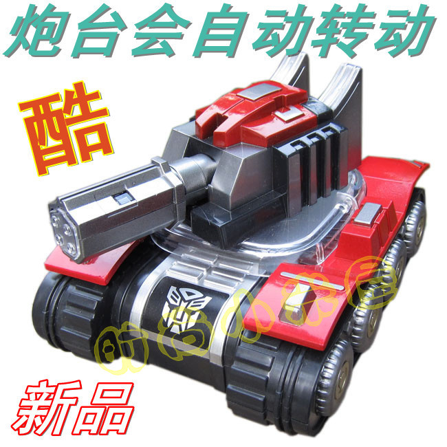 Children electric toy car battery automatically rotates the audible signal luminous, gold steel tank variant International Children ' s Day gifts