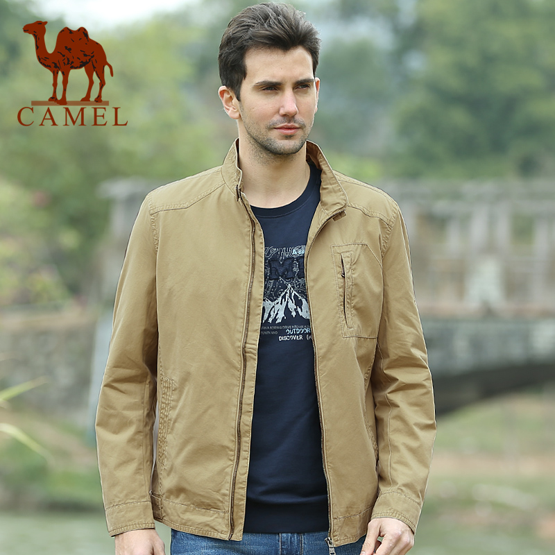 骆驼夹克 男装正品 2014秋装新款jacket 潮男 休闲韩版微薄短外套
