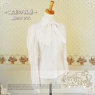 женская рубашка Lolita princess 68/09010100/B L&P Милый Длинный рукав Однотонный цвет Бантик бабочкой Воротник-стойка
