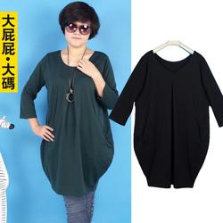 加大码女装胖人秋装显瘦七分长袖连衣裙