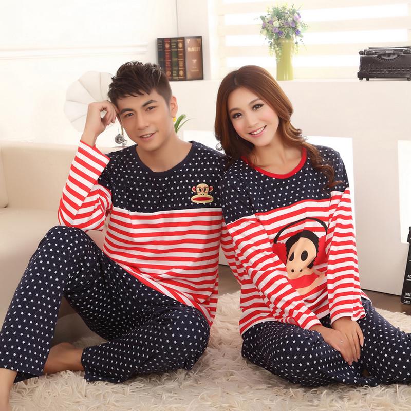 Пижама Пара пижамы весна лето Южная Корея длинные рукава хлопок одежда дома женщин Мужские пижамы набор XL домашних услуг