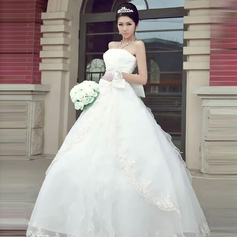 人气新娘婚纱韩版 新款2012 经典齐地甜美公主韩式婚纱礼服1239