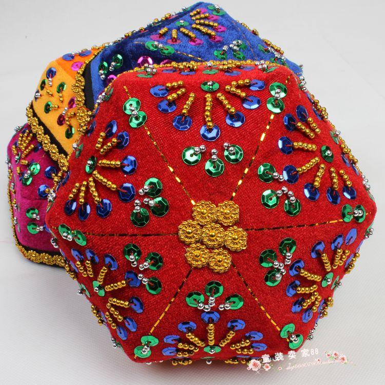 新疆维吾尔族小花帽民族帽舞蹈演出头饰六角帽舞台女士女童舞台帽