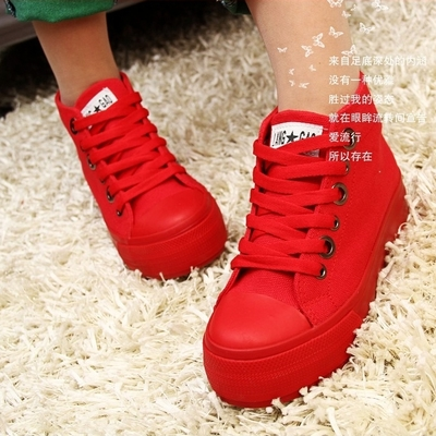 Show Ka canvas shoes women high shoes Korean tidal thick crust muffin increased within the canvas shoes free shipping shoes red bottom shoes