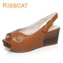 KISSCAT接吻猫 羊皮K2125-01时尚欧美风鱼嘴鞋坡跟厚底高跟女凉鞋图片