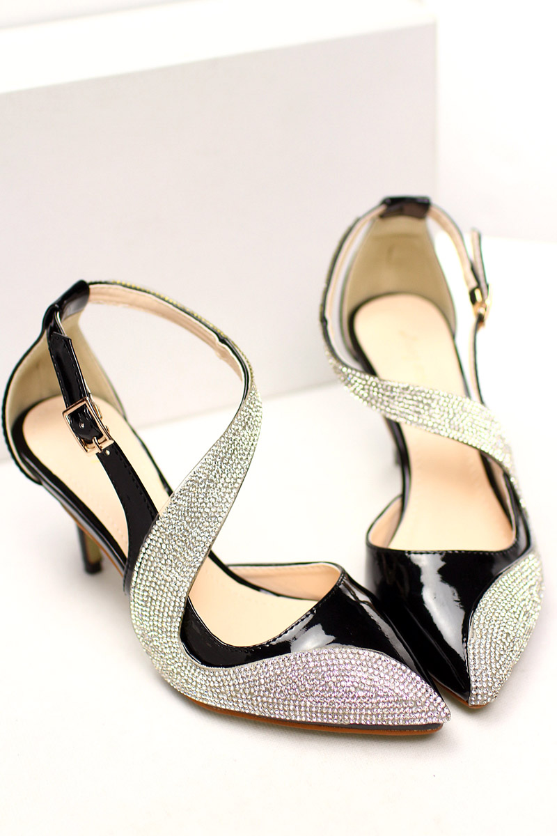 S-strap sandals with rhinestones patent leather female bag commuter pointed stiletto shoes side hollow professional party shoes