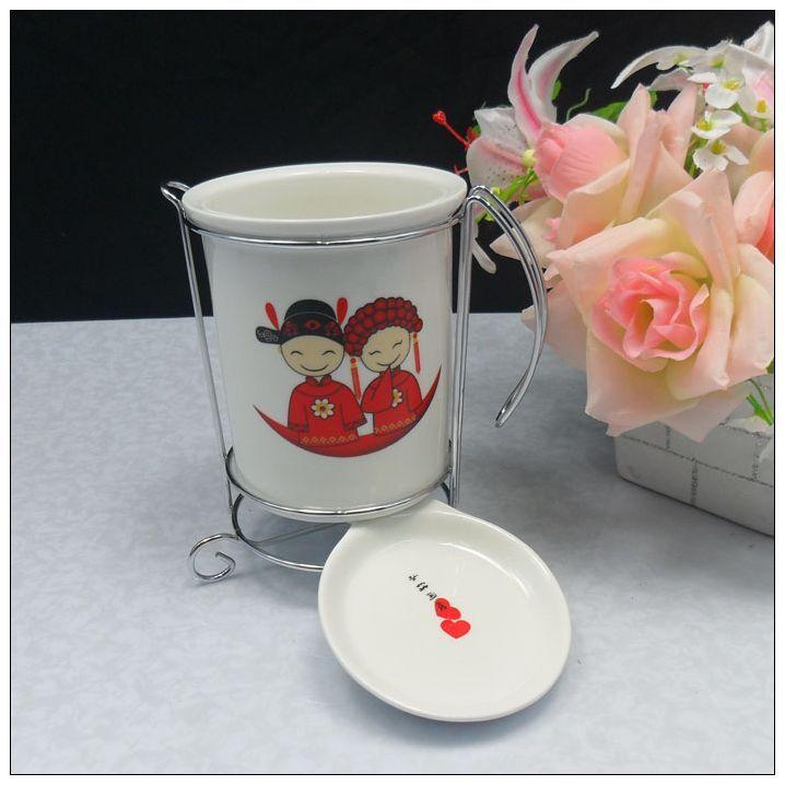 骨瓷筷子筒  景德镇瓷器 可爱婚庆卡通 百年好合 厨具用品