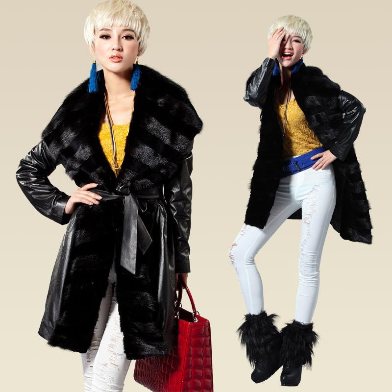 新款超奢华整貂割条进口绵羊皮真皮风衣大衣外套