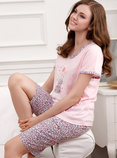 Dream ba Sally pajamas pink leopard grain rabbit cotton short sleeve leisurewear suit 011411260
