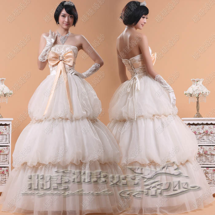 婚纱礼服2013Hunsha精美绣花塔式齐地婚纱tths029