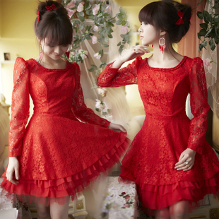 2012 new skinny skinny bride wedding toast dress long sleeve dress-lace handmade beads