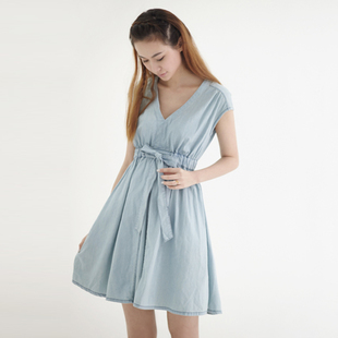Summer new denim dress $ 89 package mail quality  gown at  end of your waist and skirt S6027
