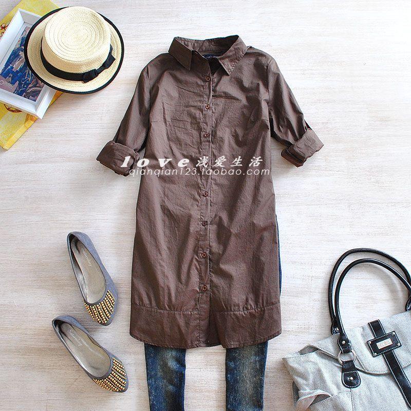 женская рубашка G3303 Корейский вариант, основанный на простой сплошного простирания тонкий женский длинный рукав рукав длинный блузку детали Повседневный Длинный рукав Однотонный цвет