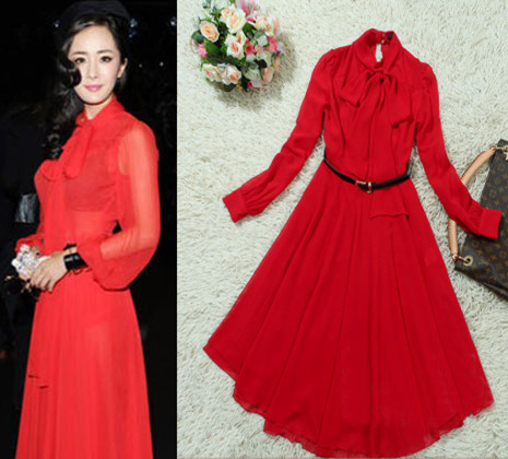 Long Sleeve Dress on Mi Sexy Atmosphere With Elegant Maxmara Red Chiffon Long Sleeve Dress