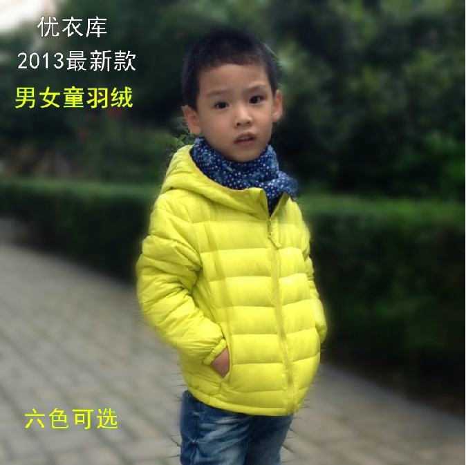 Пуховик детский Аутентичные UNIQLO мальчики носить сплошного капюшоном легкий жакет с капюшоном специальный воротник куртки