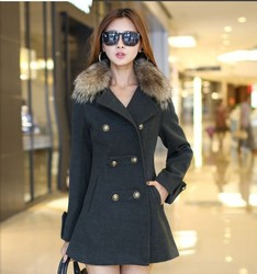 Slim woolen coat collar wool woolen coat fur collar