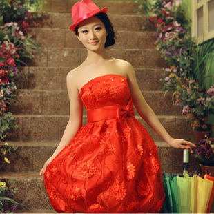 Korean small dress dresses fashion wedding dress bridal gown evening dress Delta short wedding toast bridesmaid dress suit belly band