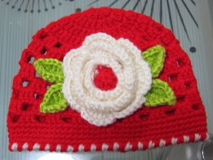 2014满就送 帽子中性蚕丝护耳毛线小孩母女 初生儿红色编织