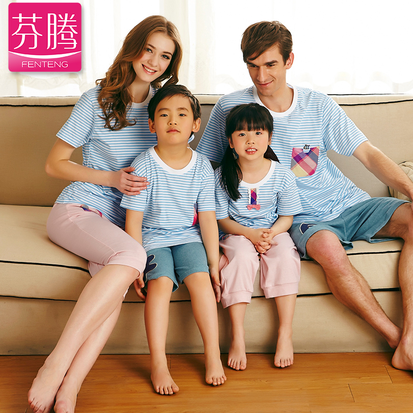 FENTENG Parent-child 2014 New summer short sleeve T shirt Family stripe Cotton Kids  Taobao Agents