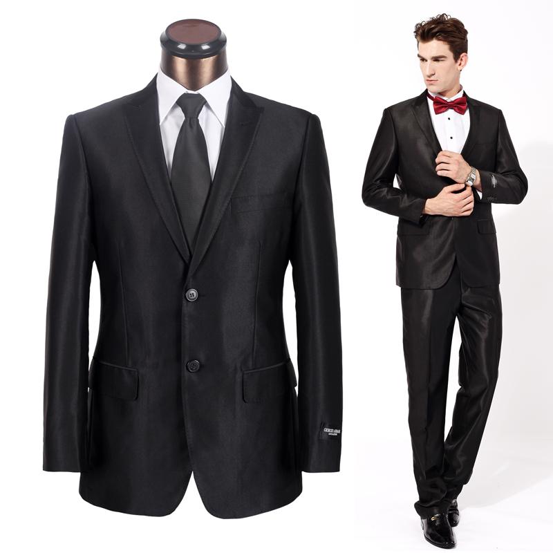 修身 西服套装 男士 商务西装套装 结婚礼服 套装 黑亮 �I扣 正装