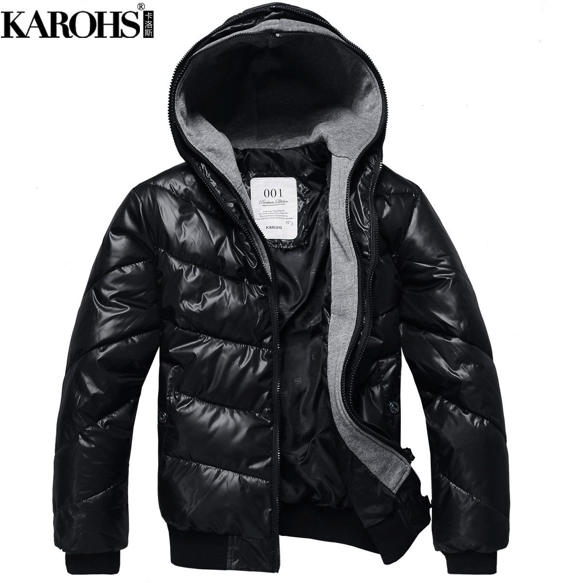 karohs冬装新款超保暖加厚修身棉衣男装外套潮男士加大码棉服6007