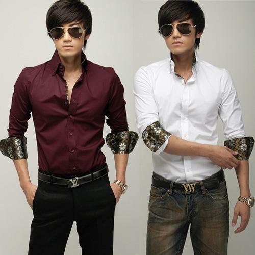 Рубашка мужская Other Воротник с пуговицами Длинные рукава ( рукава > 57см )
