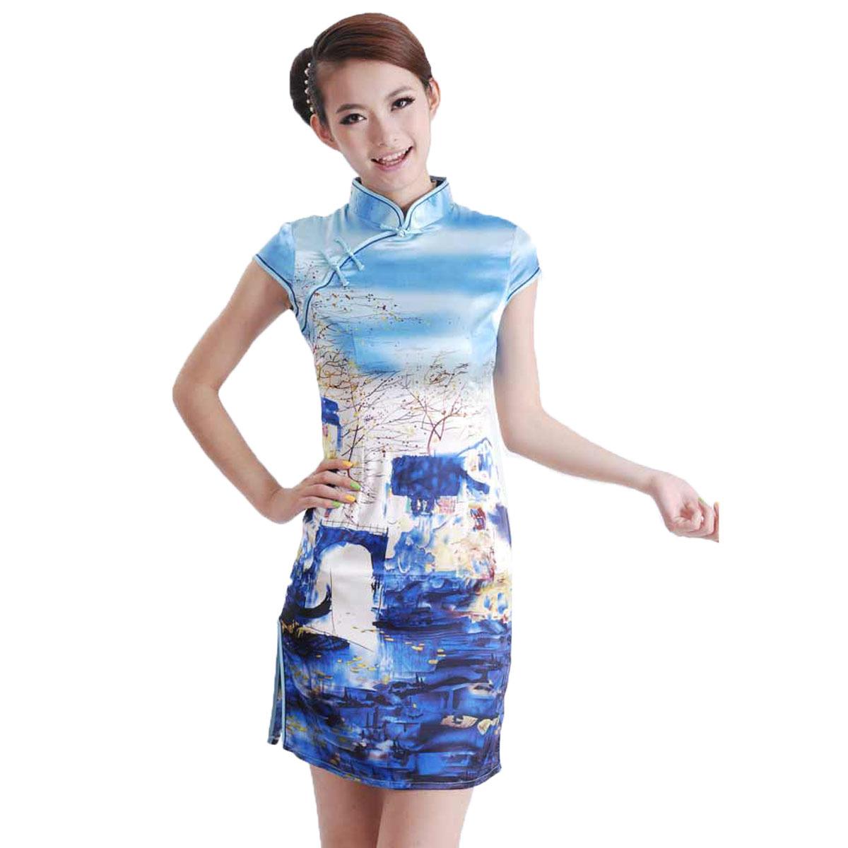表演出旗袍时尚夏装日常旗袍改良仿真丝绸蓝色旗袍裙田园风格