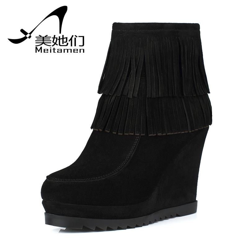 欧美 流苏/美她们2013新款欧美真皮女靴超高跟坡跟短靴牛皮流苏靴子女