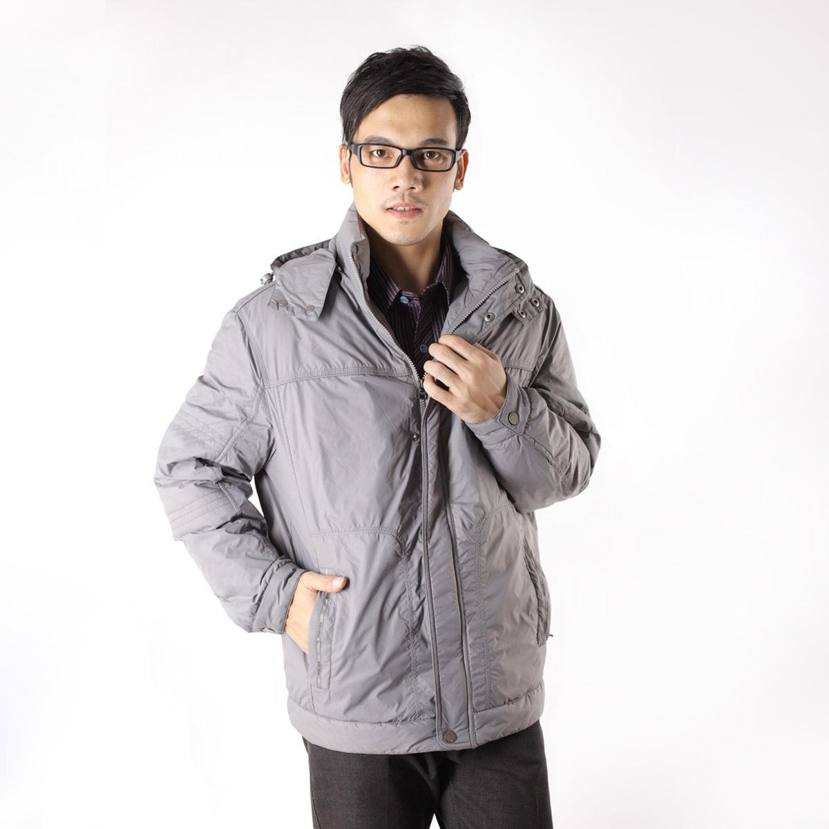 Пуховик мужской Peng 307417 -307409 890 Серый лебяжий пух Средней длины (длина одежды равна длине рукава+-3 см) Тонкая модель
