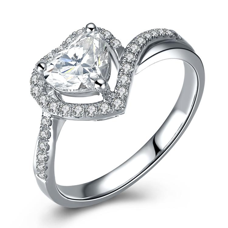 爱度珠宝 70分F-G群镶结婚钻石戒指 心形钻戒 裸钻定制专柜正品