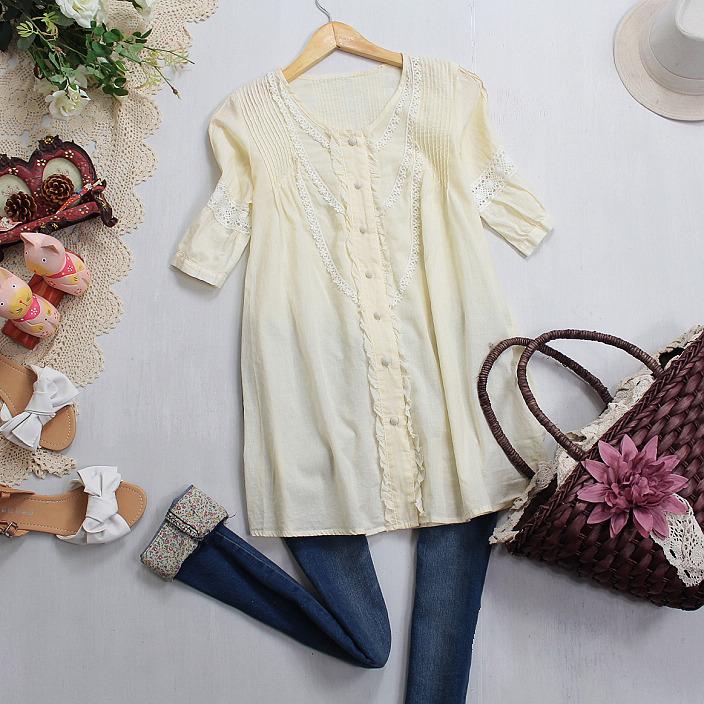 женская рубашка Корейская версия женщин весной и летом, чистый цвет кружева дамы хлопок комфорт t рубашка Повседневный Короткий рукав Однотонный цвет Лето 2012 О-вырез