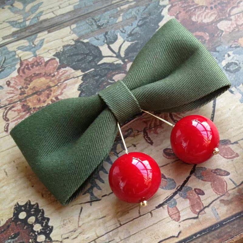 蜜莉雅韩国正品 红绿圣诞色 樱桃胸针发夹 胸花