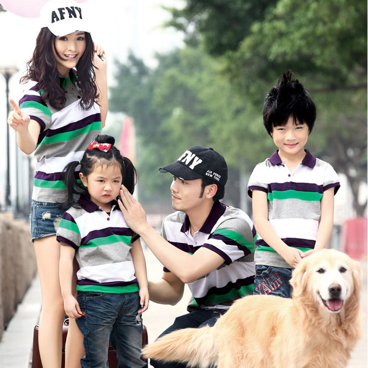Viaic Parent-child 2014 New summer short sleeve T shirt Family Polo stripe  Taobao Agents