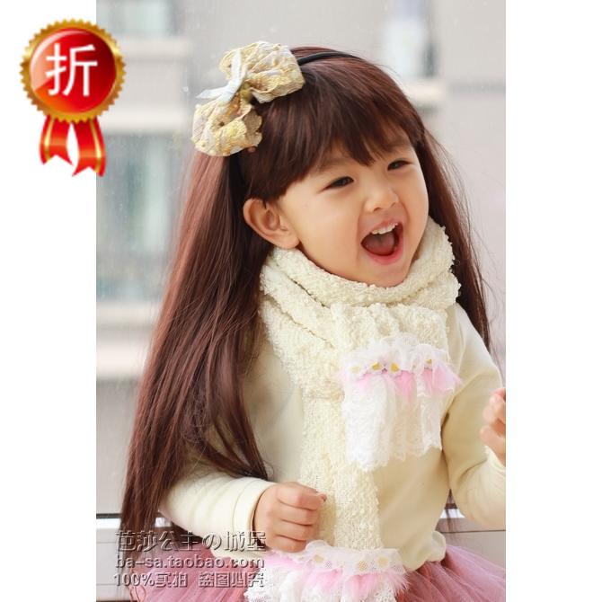 女 童 假发 长直发发饰 婴 儿童  假发 带刘海宝宝发带韩版可爱 头饰图片
