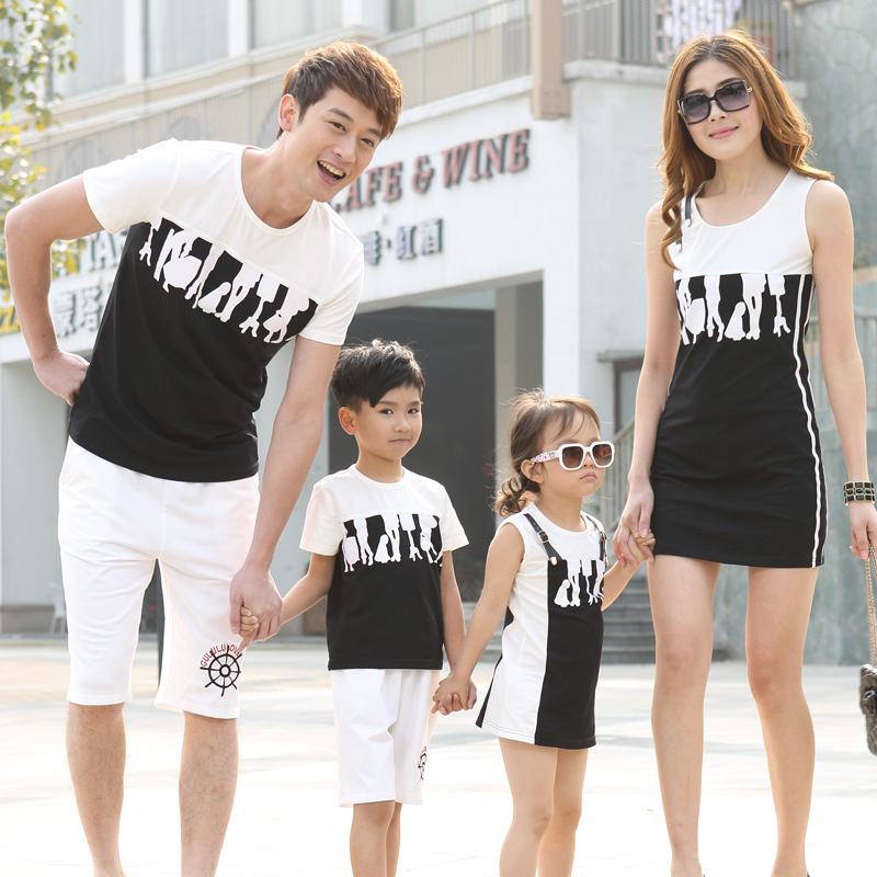 Family fitted a family of three four 2015 summer new female WOMEN M T-shirt dress summer full home improvement