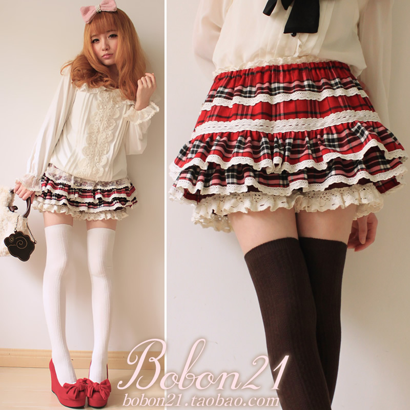 New BOBON21 spring exclusive Japanese big pussy skirts and Red Plaid lace cake skirt B0466
