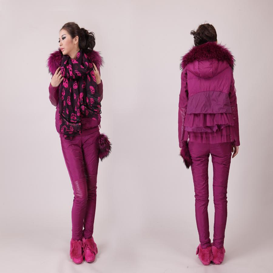Одежда для отдыха Пандоры европейского Гран осенью новых VA fox меховой шляпе, пролетел вниз жилет + перо брюки   для девушки