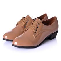 2012新款女鞋 欧美范儿 个性小尖头系带 仿真漆皮中跟单鞋子
