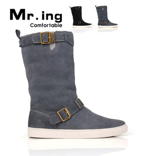 Mr.ing high matte leather combined with comfortable warm cashmere couples boots boots casual shoes men's shoes H065