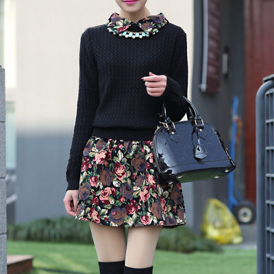 2014 new autumn and winter wool skirt US European and American Korean long-sleeved dress shirt bottoming knit sweater large size women