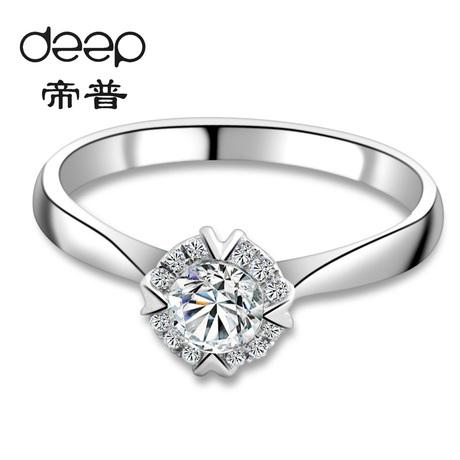 烟花浪漫----四爪镶花冠钻石结婚女戒18k白金火彩女钻戒 帝普商品大图