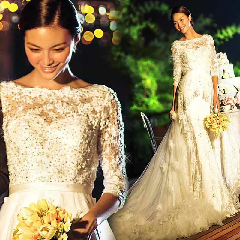 一字肩皇室公主奢华蕾丝亮片 新娘鱼尾拖尾婚纱礼服2013最新款719
