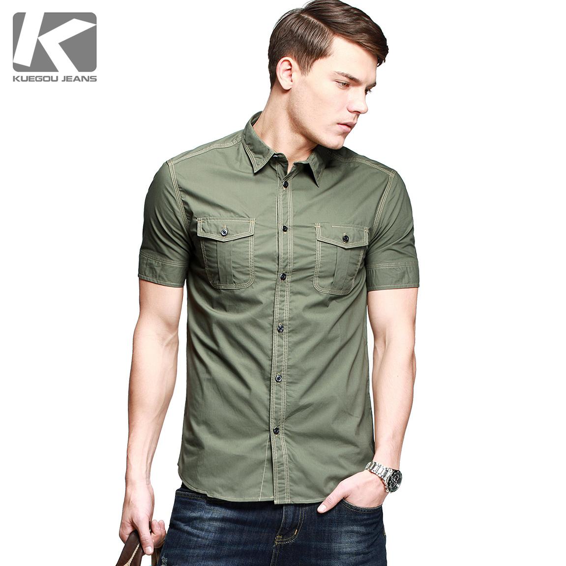 酷衣購 男士軍綠色短袖 修身襯衫 男個性純棉軍裝襯衣 潮12506圖片