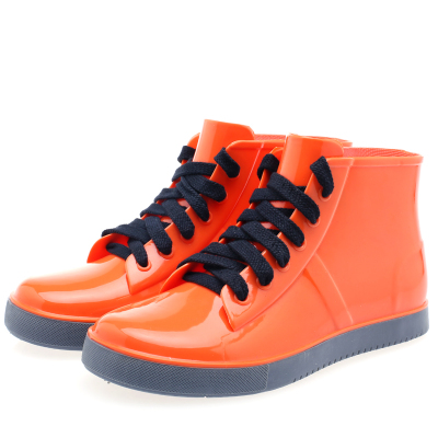 2014 new waterproof shoe shoe boots female Korean candy colored non-slip jelly girls rain boots fashion lace