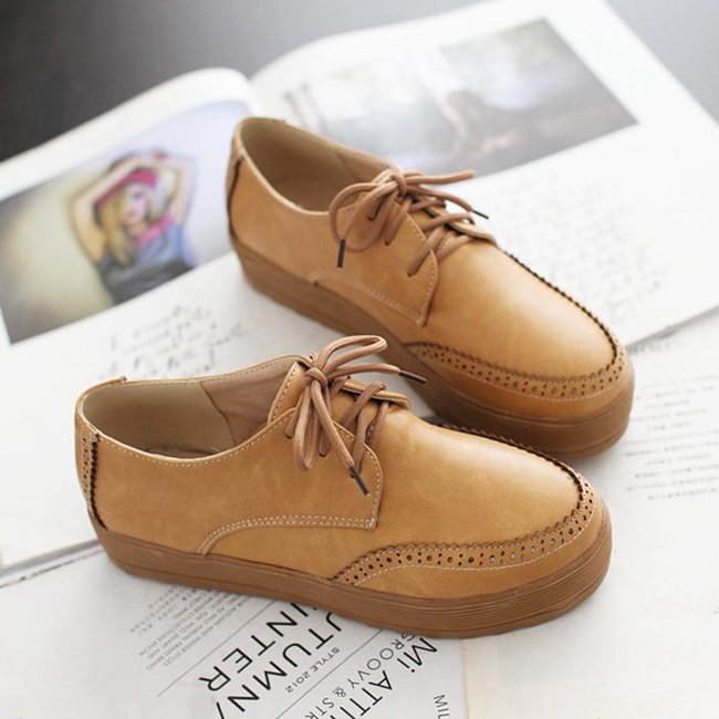 2014 spring tide simple and comfortable shoes new British style lace shoes retro College heavy-bottomed platform shoes shoes